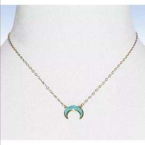 BAUBLEBAR SKYE Teal Faux Drusy Crescent Moon